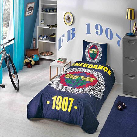 Fenerbahçe Marşlı Logo Tek Kişilik Yatak Örtüsü