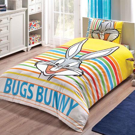 Lisanslı Bugs Bunny Striped Nevresim Takımı