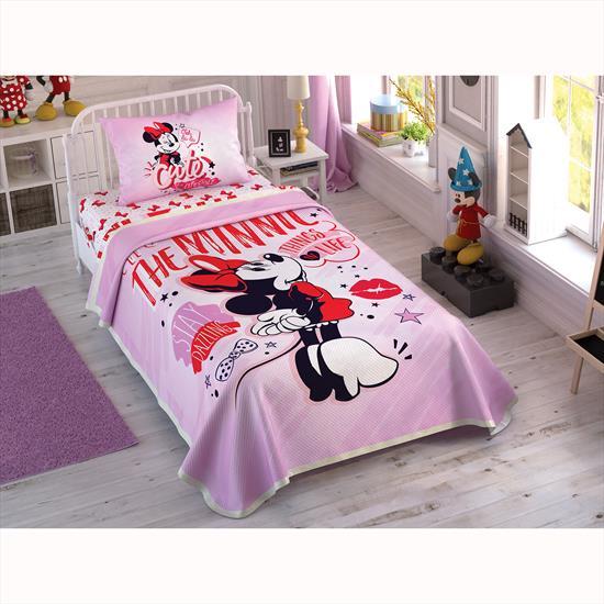 Taç Disney Minnie Pink Heart Tek Kişilik Pike Takımı