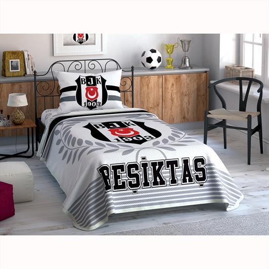 Taç Beşiktaş Black And White Tek Kişilik Pike Takımı