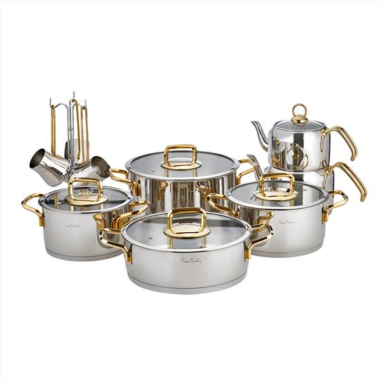 Pierre Cardin Saturn Gold 16 Parça Çelik Tencere Setleri